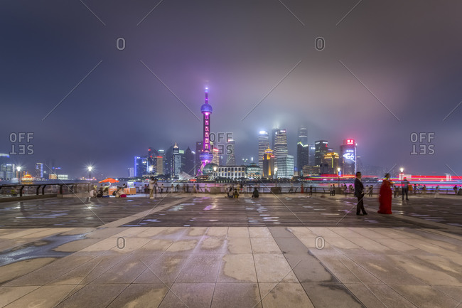 Skyline of Pudong with Bund Promenade at night, Shanghai
