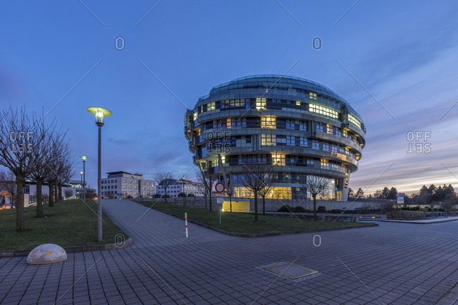 Hannover, Germany - March 8, 2015: View to International Neuroscience Institute at evening twilight, Hannover