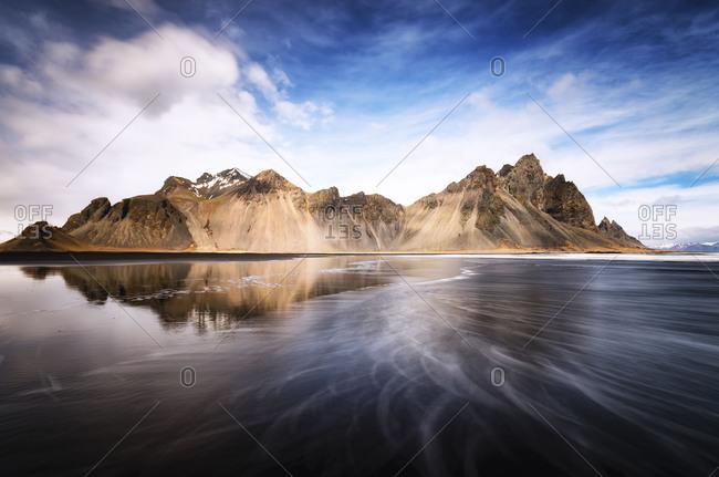 Vestrahorn Mountains, black sand beach, Stokksnes