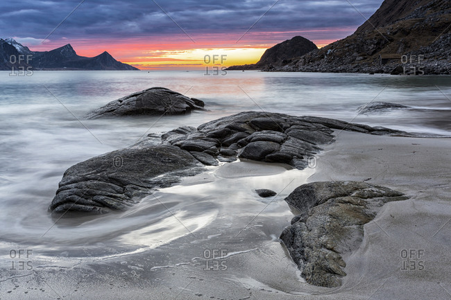 Sundown at the coastline of Utakleiv, Lofoten