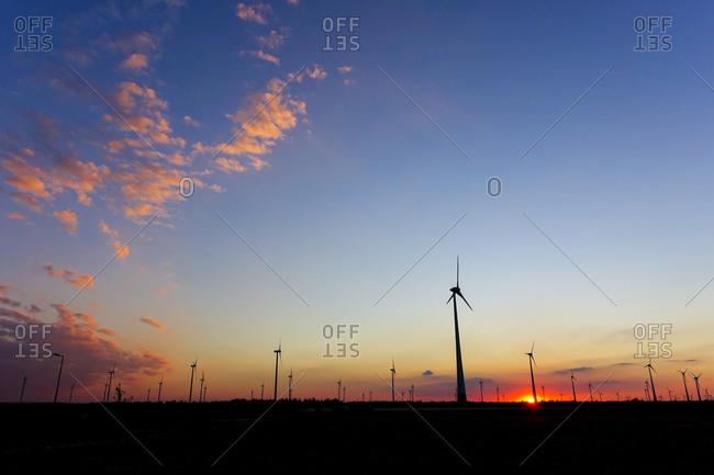 Wind park at sunset, Potzneusiedl