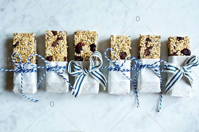 A line of wrapped quinoa bars