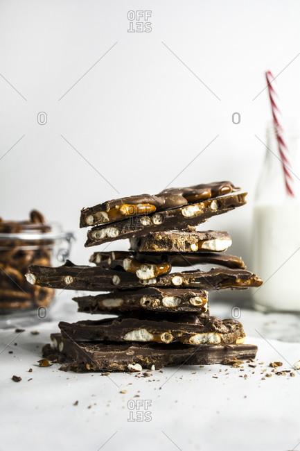 Homemade chocolate pretzel bark on marble