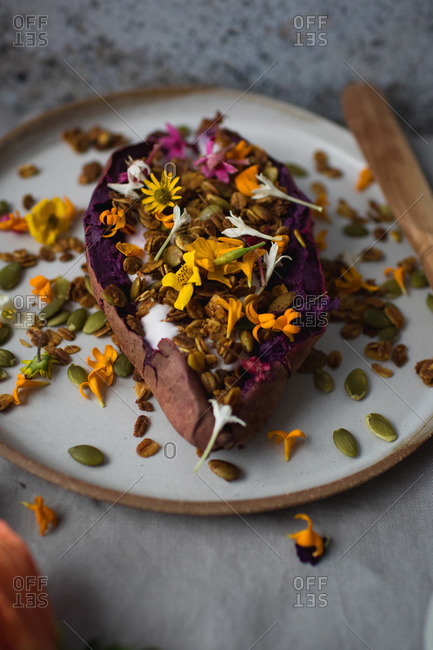 Purple sweet potato with floral topping