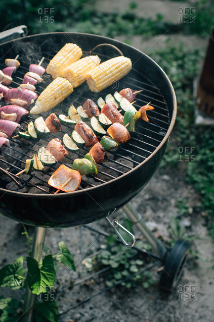 Various veggies on skewers on grill