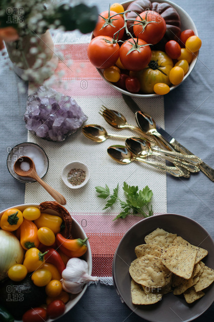 Ingredients for tortilla soup with geode