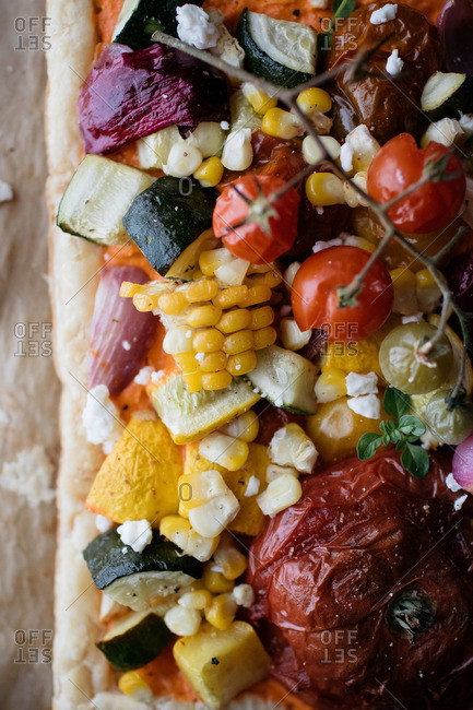 Close up of veggies spread on bread