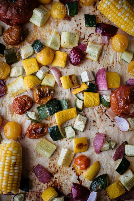 Various slices of roasted vegetables