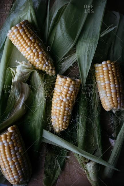 Halves of corn on the cob