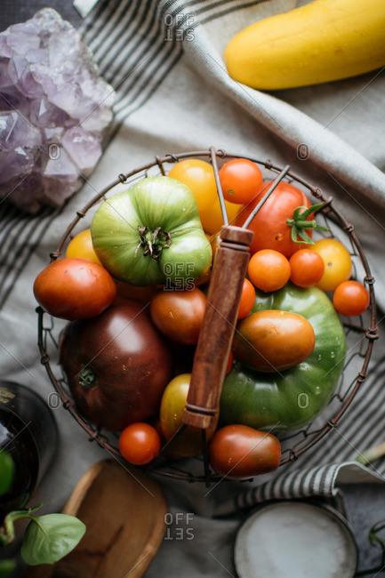 Various tomato varieties in wire basket