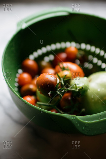 Wet tomatoes in a strainer