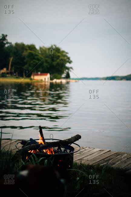 Campfire on the edge of a lake