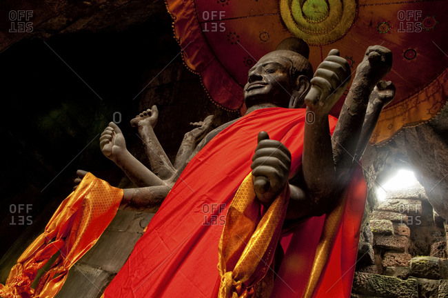 Angkor, Cambodia - September 15, 2012: A Vishnu Statue in Angkor, Cambodia