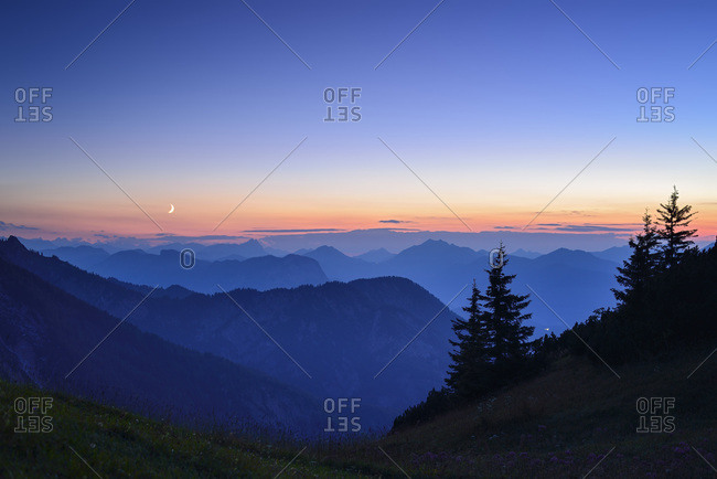 Karwendel mountain range at sunset