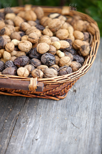 Mixed nuts in a woven basket