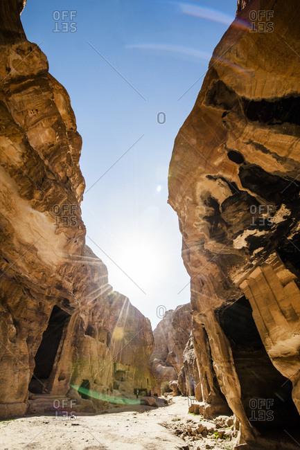 Doors cut in stone in the ancient city of Petra, Jordan