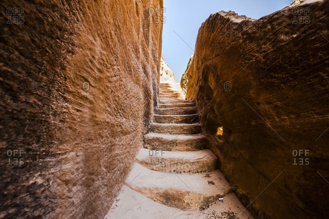 Stone steps in the ancient city of Petra, Jordan
