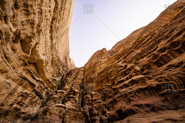 Sandstone walls in Wadi Rum, Jordan