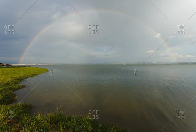 Rainbow over Lake Trasimeno, Italy