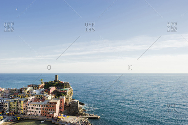 Seaside buildings in the town of Vernazza on the Italian Riviera