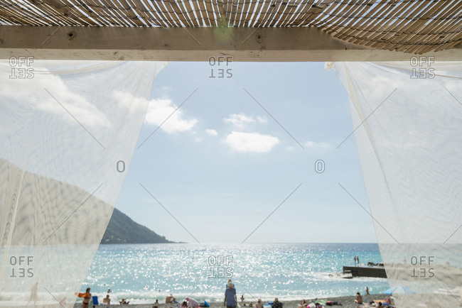 View of the sea from a beach shelter on the Italian Riviera