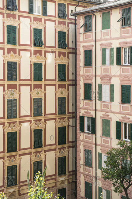 Facade of a building on the Italian Riviera