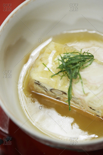 Japanese terrine made with fresh mountain vegetables and fish