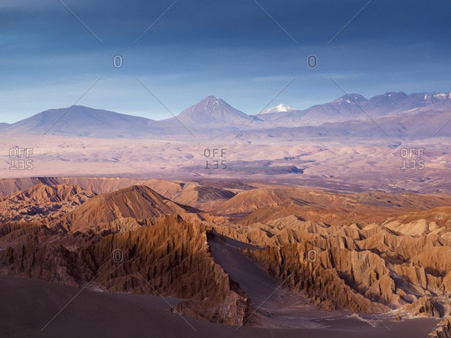 Death Valley at sunset in San Pedro de Atacama, Antofagasta Region, Chile