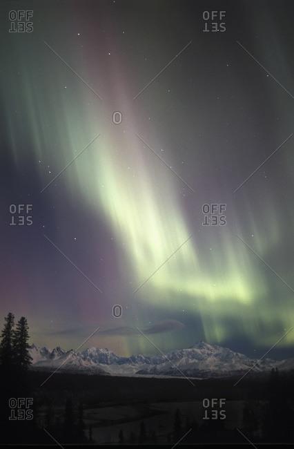 Pastel aurora above Mount McKinley, Alaska