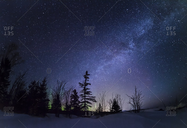 Milky way and the night sky in Grand Portage, Minnesota