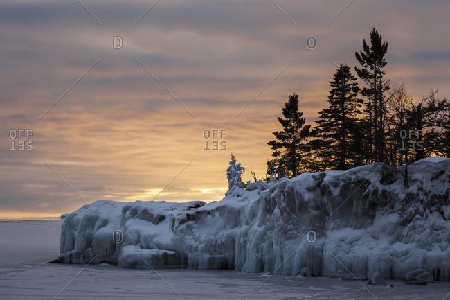 Ice on Lake Superior at sunrise in Grand Portage, Minnesota