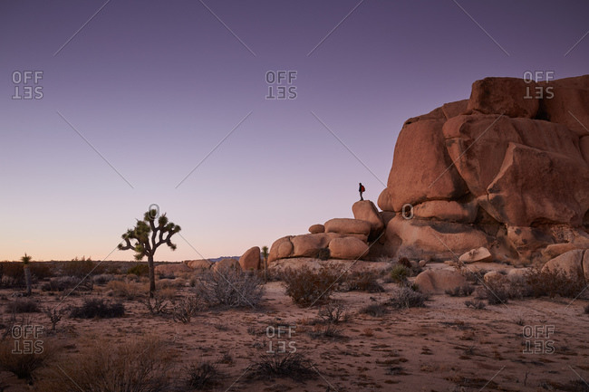 Man standing on boulder in desert wilderness