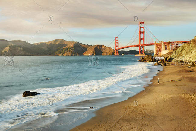 Beach along San Francisco Bay near Golden Gate Bridge