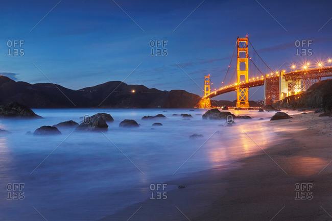San Francisco Bay at night near Golden Gate Bridge