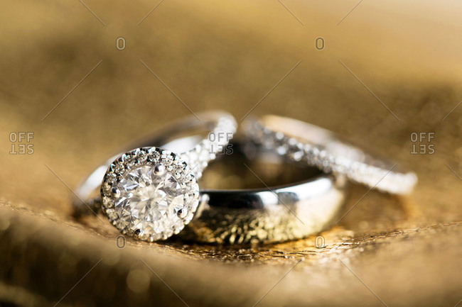 Silver wedding bands and engagement ring