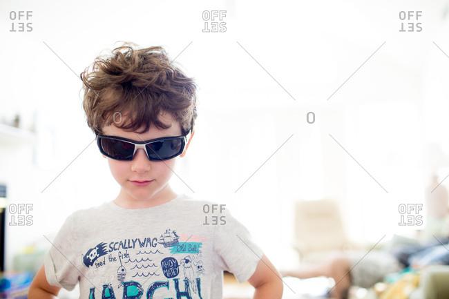 Little boy wearing sunglasses