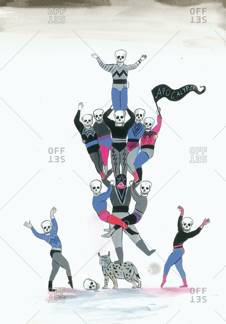 Skeleton circus performers forming a tower on the back of a lynx