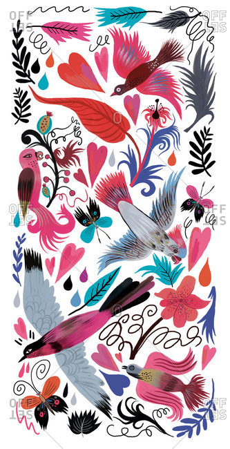 Elaborate background of exotic birds, butterflies and plants