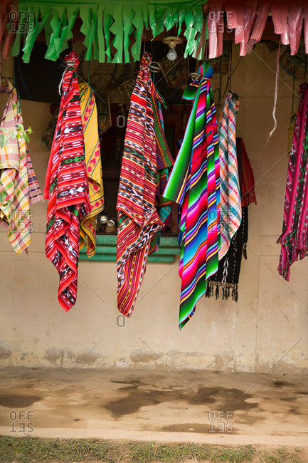 Textiles for sale along Lake Atitlan in Guatemala