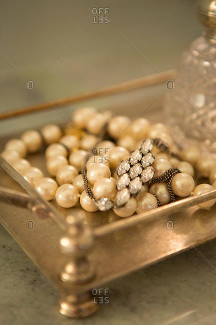 Close up of costume jewelry