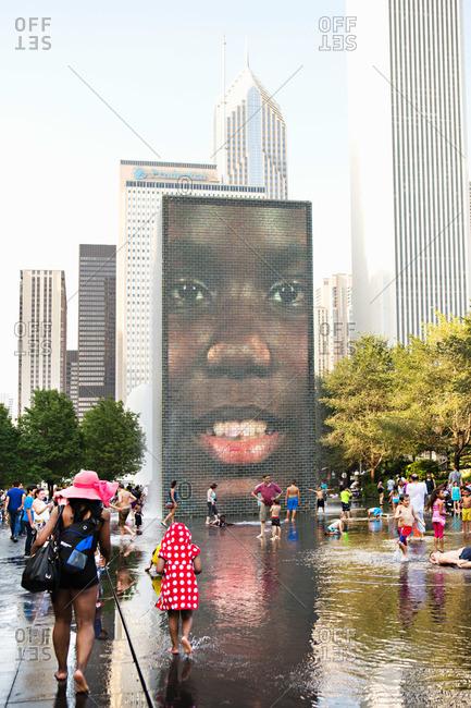 Chicago, IL, USA - August 24, 2014: Crown Fountain in Millennium Park in Chicago, Illinois