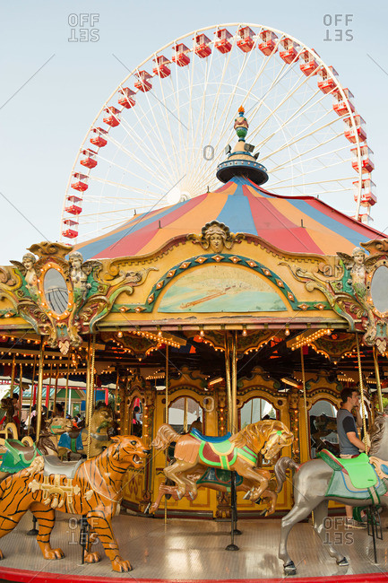 Chicago, IL, USA - August 24, 2014: Rides at Navy Pier in Chicago, Illinois