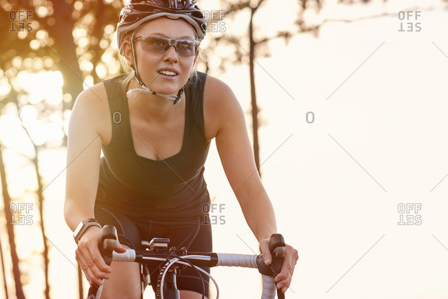 Close up of woman cycling on a mountain road