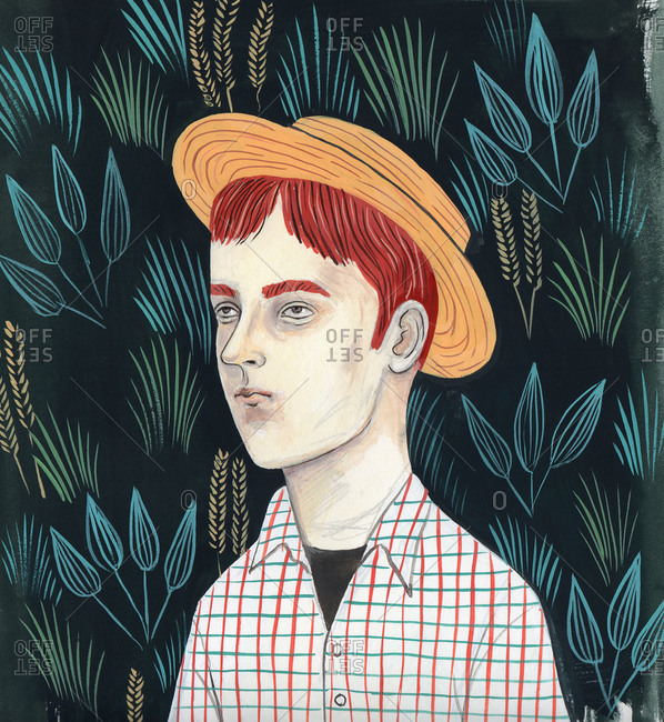 Boy with hat with plants on the background