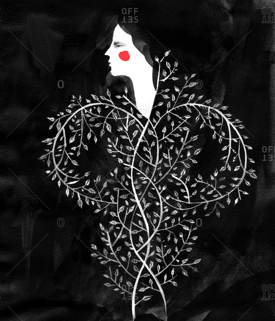 Girl with a body made out of branches and leaves