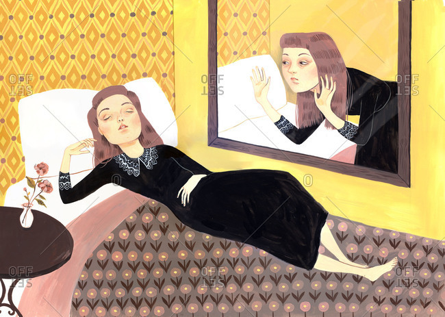 Woman lying on a bed and reflection looking at her