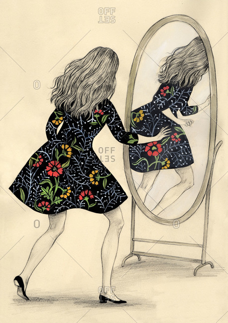 Girl looking at her reflection on the mirror escaping from her
