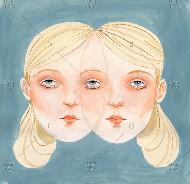 Two girl faces overlapped