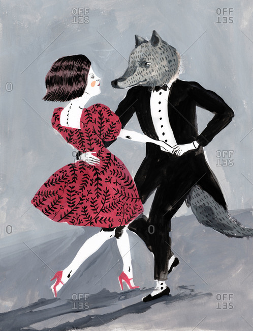 Girl dancing with a wolf