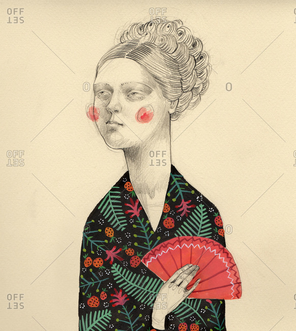 Woman dressed in a floral kimono and holding a fan
